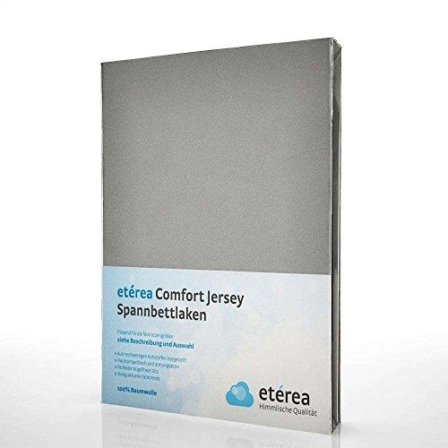 etérea Jersey Topper Spannbettlaken- Serie Comfort - 100% Baumwolle Spannbetttuch Farbe Frost Grau, in der Größe 180x200 - 200x200cm