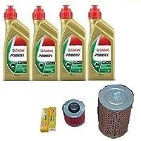 Kit de revisión de filtros para Yamaha XV 535Virago. Aceite Castrol Power + 1filtro para aceite + 1 filtro de aire + bujías