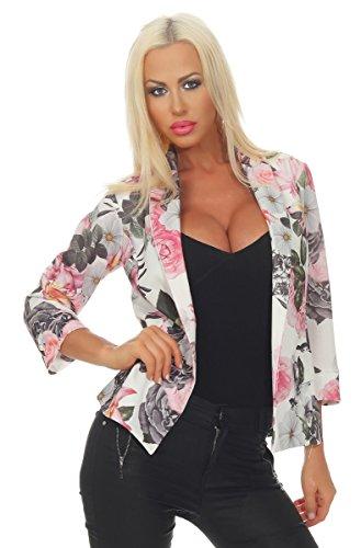 OSAB-Fashion 11566 Damen Blazer Jacke Kurzjacke Jäckchen Kurze Jacke Blumen 3/4-Ärmel