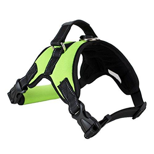 Yiiquanan Hundegeschirr Heavy Duty Mittlere/Große Hunde Geschirr Verstellbar Haustiere Vest Harness Ür Training Oder Walking (Grün#2, Asia XL)