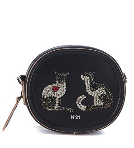 borsa-tracolla-tamburello-small-n21-in-pelle-spazzolata-nera-con-gatti