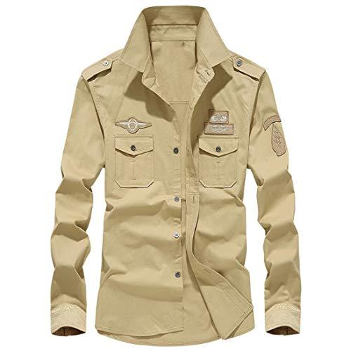 MRULIC Herren Herbst Militär Slim Button Langarm Stehkragen Shirt Top(Khaki,EU-46/CN-L)