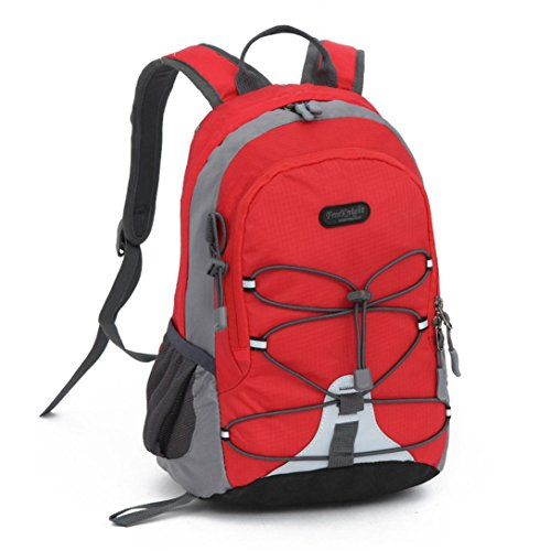 Deloito Rucksack Kinder Jungen Mädchen Wasserdicht Trekking Rucksack im Freien Bookbag Schulranzen (Rot, L)