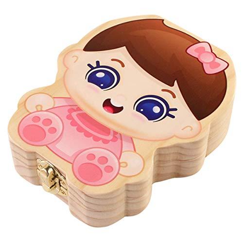 Baby Zähne Box Cartoon-Muster, hölzerne Zahn Aufbewahrungsbox für Kinder, Nabelschnur/Lanugo Aufbewahrungsboxen, Mädchen