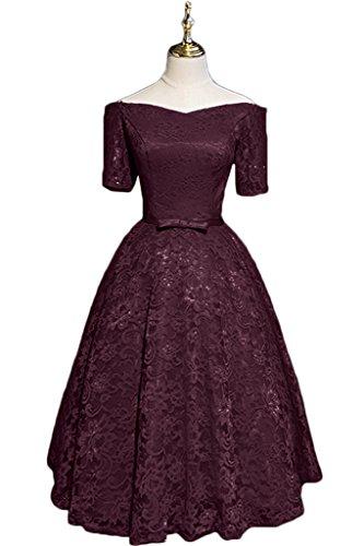 Ivydressing Damen Elegant Kurz Aermel Spitze A-Linie Kurz Partykleid Promkleid Festkleid Abendkleid Traube