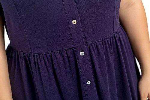 Chicwe Donna Allungare Pizzo Taglie Forti Tunica Top con Davanti Buttons 1X-4X Blu