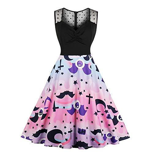 en Kostüm Halloween Partykleider Kleider Damen 1950er Elegant Spitzenkleid Rundhals Knielang Festlich Cocktail Abendkleid ()