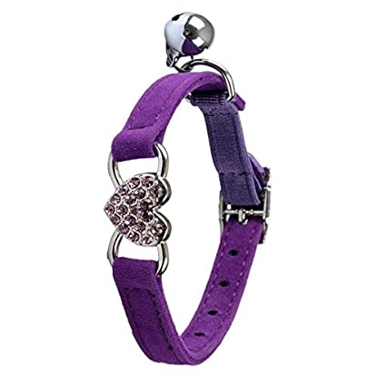 TOOGOO(R) Heart charm and bell cat collar safety elastic adjustable with soft velvet material collar pet product small S… 3