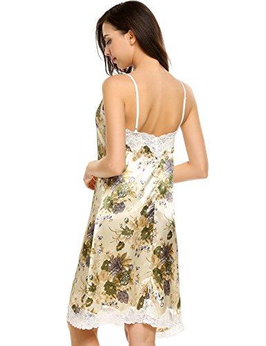 Ekouaer Damen Nachthemd Sexy Nachtkleid V-Ausschnit satin Träger Nachtwäsche kleid Spitzenbesatz Schlafanzug Weiß-3