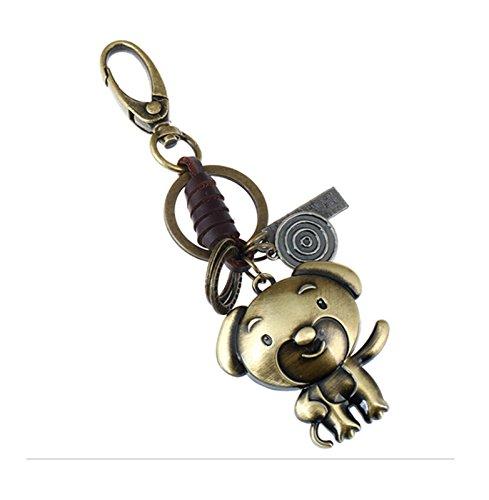 Adisaer Leder Metalllegierung Schlüsselringe Schlüsselbund Herren Damen 12 Chinesische Sternzeichen Hund Schlüsselanhänger für Frauen, Männer 1PCS Anhänger Punk -