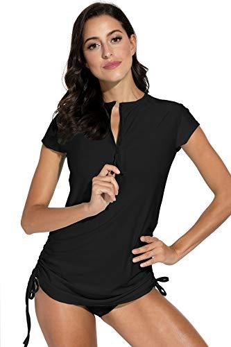 BesserBay Damen Bademode Rash Guard UV Shirts Kurzarm Surf Shirt Schwimmen Tankini Badeshirts UPF 50+, 38, Schwarz
