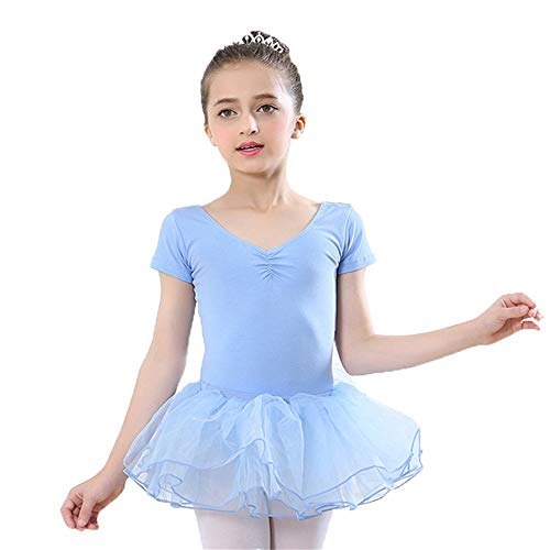 Mädchenkleider für Mädchen Baby Mädchen Kurzarm Baumwolle Balletttanz Tanktop Trikot mit Rock Professionelle Rüschen Tüll Tutu Skirted Trikot Kinder Tanzkleidung Kostüme Performance Training ()