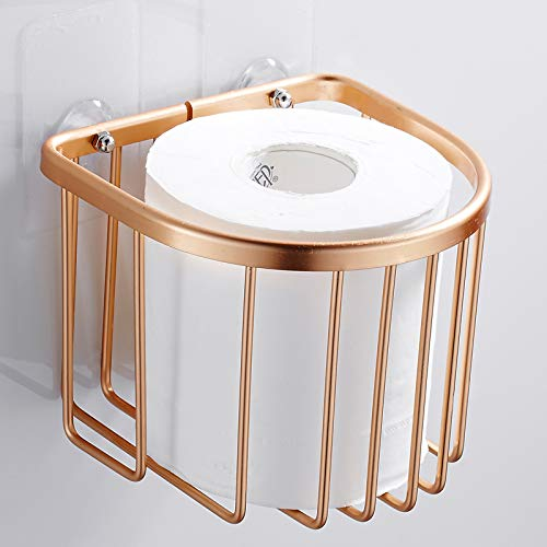 GUAZ Suction cup hand carton toilet paper box toilet paper box toilet tissue box toilet paper holder roll holder free punching, gold -
