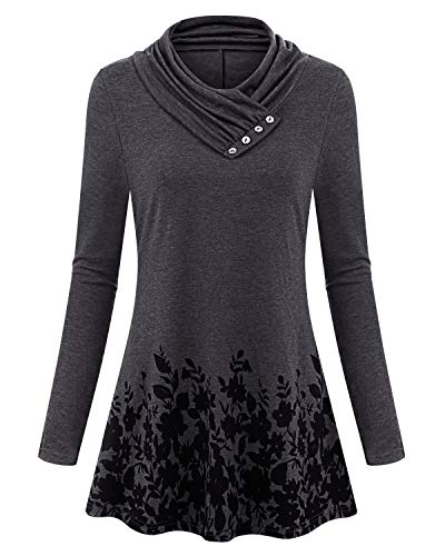 ps für Frauen, Junioren Cowl Neck Langarm Swing Floral Saum Flattering Plus Size Kleidung Grau XXL ()