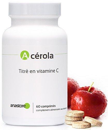 ACEROLA * 1 comprimé = 170 mg de vitamine C, soit 215.5% des besoins journaliers * 170 mg / 60 comprimés * Titré à 17% en vitamine C * Anti-fatigue * Vitamine C naturelle * Fabriqué en FRANCE * Qualité contrôlée par certificat d'analyse * 100% satisfait ou remboursé