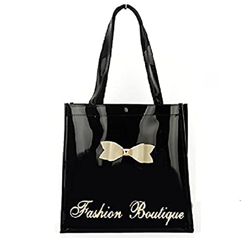 Gossip Girl - Ladies Medium Patent Glossy Shopper Tote / Lunch Bag With Bow (Medium - Black)