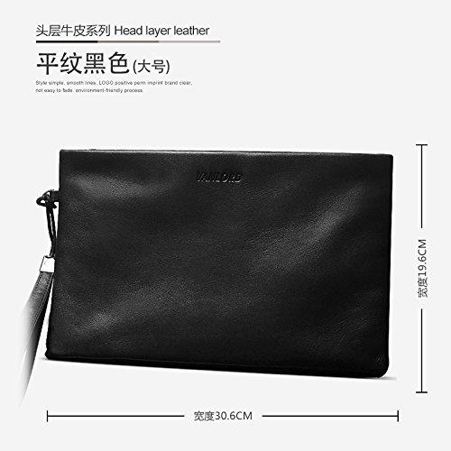 Handtasche, Leder, Tasche die große Kapazität Männer, business casual Umschlag Tasche, groß blau Big Plain black