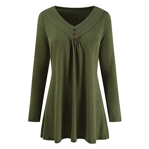 LOPILY Sommer T-Shirt Kurzarmshirt Damen Elegante Übergröße Kurzarm Gekräuselte Geraffte Shirts Blusen Tops Sommer Lässige Unregelmäßiger Saum Falten Bluse Oberteil(X1-Grün,M)