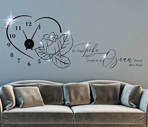 tjapalo® pkm503 Wohnzimmer Wanduhr Wandspruch Zitate Blaise Pascal Ein Tropfen Liebe ist mehr als ein Ozean Verstand Wandtattoo Uhrwerk, Größe: B130xH50cm (+Uhrwerk schwarz), Farbe: schwarz