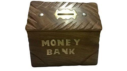 Spezielle Geschenke am Karfreitag Handgefertigte Holzspardose Sichere Piggy Bank für Mädchen und Jungen Haus mit Futter, Kinder Münzbox, Münzen-Piggy Bank, Antik Holz-Geldkasten Holz Piggy Bank