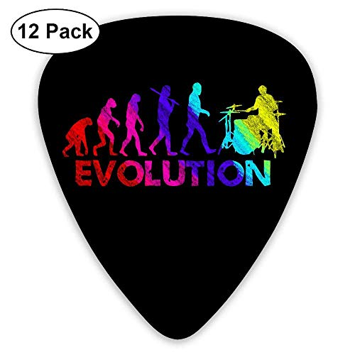 Drummer Evolution Funny Music Humor Drums 351 Shape Classic Picks 12 Pack For Electric Guitar Acoustic Mandolin Bass -