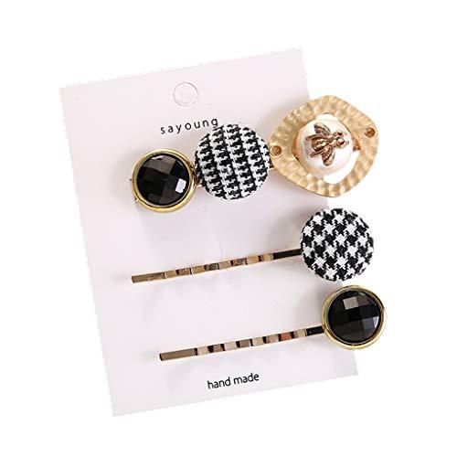 VIccoo 3 Teile/Satz Japanischen Stil Damen Metalllegierung Gerade Haarnadeln Faux Perle Strass Hahnentritt Taste Haarspange Haarspangen - F# (Und Tasten Perle Strass)