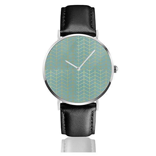 Reloj de Pulsera de Piel sintética con diseño de Espiga, Color Verde Azulado, diseño geométrico, Correa de Piel clásica, Color Negro