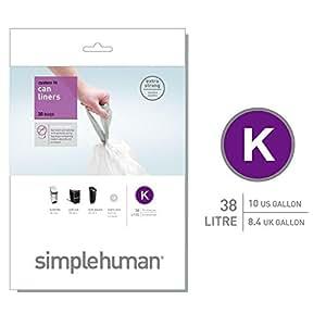 simplehuman - Code K, Custom Fit Bin Liners, 20 Pack - 35-45 Litre