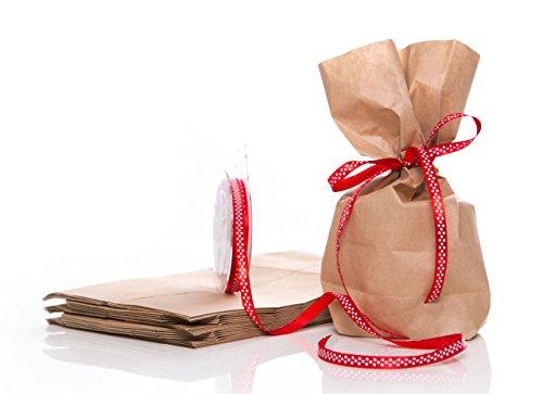 10pezzi sacchetti regalo; mitgebse ltüten o gastgeschenktüten con nastro di raso o nastro da regalo in confezione per il compleanno o per natale per rosso con pois bianchi (10metri)