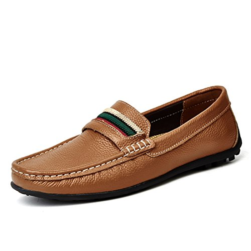 Minitoo Boys Mens Colorful Stripe Stitched Casual Penny Loafers Brown
