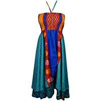 Boho Chic Designs Womens Hi Low Halter Dress 2 Layer Recycled Silk Sari Beach Dresses M (Multi Blue)