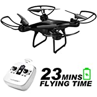 allcaca RC Drone Quadcopter 2.4Ghz 6 Axis Gyro 4CH 23 Mins Flying Time with Headless Mode Altitude Hold 3D Flips for Beginner, Battery Included, Black