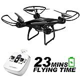 allcaca RC Drohne RC Quadrocopter 23 Minuten Lange Akkulaufzeit mit LED-Leuchten, 3D Flip Kopflos Modus One Key Start Landung DREI Geschwindigkeitsmodus Anfänger, Schwarz