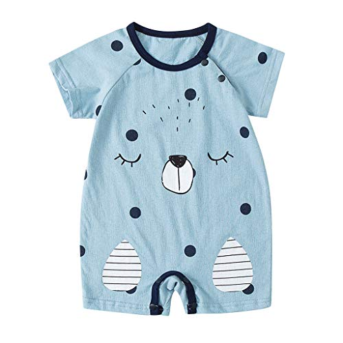 Livoral Baby Cartoon Kurzarm Overall, neugeborenes Baby und Shorts für Mädchen(Blau,6-12 Monate)