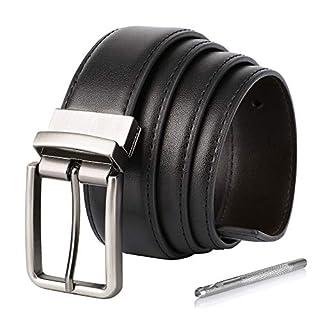 79e3ffa7c66407 Herren Gürtel, Ledergürtel Herren Wendegürtel Leder Gürtel für Männer  Herrengürtel - 35mm breit (Schwarz