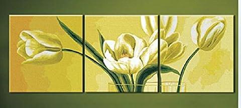 paquet de 3[Cader en Bois] Bricolage numérique toile peinture à l'huile de décoration par les kits-white Tulips 20*20