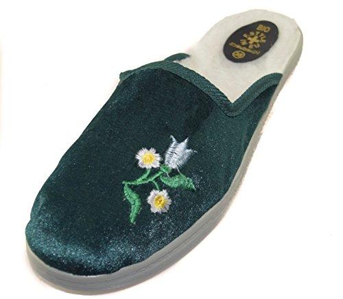 BTS–Classic–Pantofole Slip On Mule pantofole in pelle scamosciata con motivo floreale ricamato e fodera, Verde, Gr. 36–42 Green - GREEN