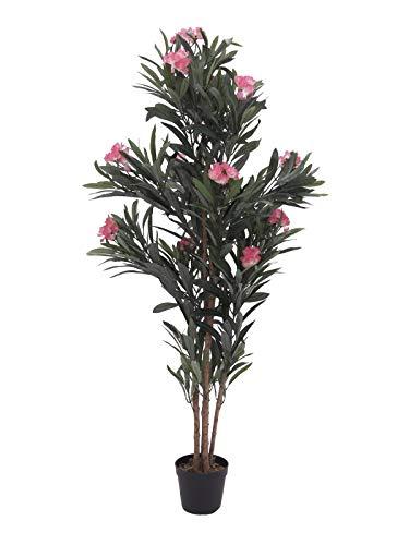 artplants Set 'Künstlicher Oleander + Gratis UV Schutz Spray' - Kunstpflanze Oleander MINOU, Echtstämme, mit Blüten, rosa, 150 cm