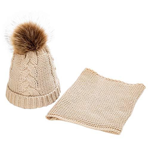 ziYOU hat Unisex Kinder Zwei Stücke warme Schal Mützen gestrickt halten Stricken Halstuch Wintermütze(12x21cm, Beige) (Blau Stricken Pyjama)