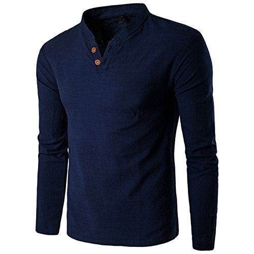 donhobo Herren Langarm Shirt Henley Slim Fit Lässige Long Sleeve T-Shirt 01Dunkelblau