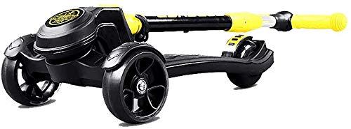 Sport Scooter Mini Scooter Faltbarer Kick mit Verstellbarem Griff 264Lbs Kapazität Kids Cool Wide Pedal Board für 80-150Cm Höhe Outdoor Mini Balance Car Toy, Golden_flower, Gelb