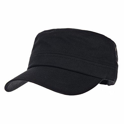 WITHMOONS Militaire Casquette de Baseball Cadet Cap Herringbone Cotton Simple Adjustable Hat CR4266 (Black)