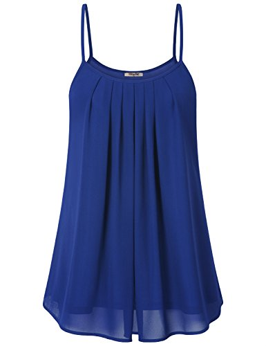 Hibelle Women Summer Tops Chiffon Bluse Damen Fashion Easy Fit Pleated Front Chiffon Spaghetti Strap Soft Office Vest Basic Cute Sleeveless Flowy Layered Classy Tops and Blouses Blue XX-Large XXL