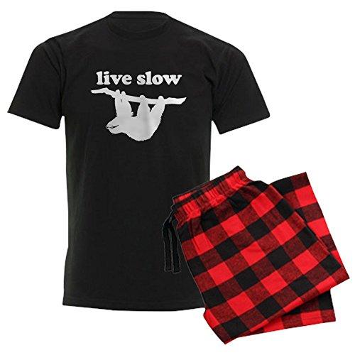 CafePress–Live Slow Faultier Schlafanzüge–Unisex Neuheit Baumwolle Pyjama Set, bequemen PJ Nachtwäsche Gr. Medium, With Red Plaid Pant (Lustig Bottoms Pj)