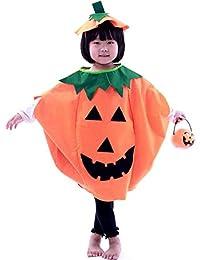 Children's Halloween Lantern Face Pumpkin Halloween Costume with Beanie Hat
