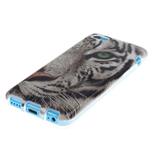 KATUMO®Apple iPhone 5C Custodia in Silicone Sottile Design Protettive Cover per Apple iPhone 5C Gel Case,Lettera Cartone Animato Tigre Bianca