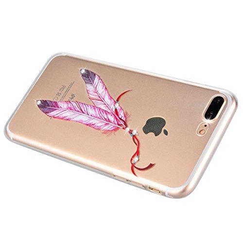"Coque iPhone 7 Plus, Etui iPhone 7 Plus , Housse iPhone 7 Plus (5.5""), GrandEver Coque Silicone 3D Diamant Bling Sparkle Transparente Crystal Clair Back Case TPU Bumper Cover Plume Attrape Rêve Motif  Plume Rose"