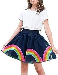Sunny Fashion Chicas Falda Vistoso Arco Iris Lentejuelas Espumoso Tutu Bailando 9-10 años