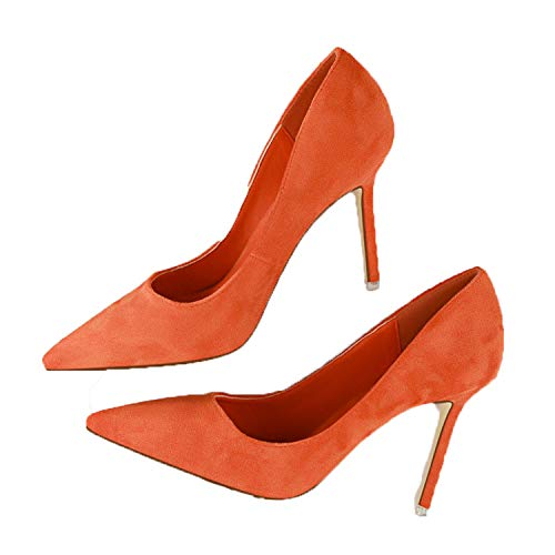 Spring Women Pumps High Heels Shoes Suede Fashion Flock Sexy High-Heeled  Slim Pointed OL 72c3909c2c54