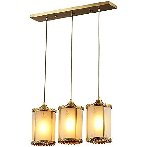 YUENLONG Continental-lampadari in ottone ristorante bar 3 lampade a luce di ornamenti e la sala da pranzo dove le lampade di bronzo pranzo creative e 1 3 campo di lampadari con lampadari ( 5-15 per M2 e 1 carattere tipografico ),3 Lampadario